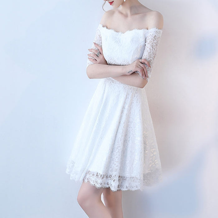 A| Chicloth White A-line Knee-length Lace Dress-Chicloth