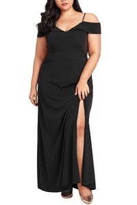 B| Chicloth Women Plus Size Maxi Dress Cold Shoulder Solid Evening Party Long Dress-polyester,anklelength,vneck,plussizedresses-Chicloth