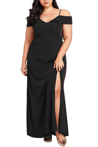 B| Chicloth Women Plus Size Maxi Dress Cold Shoulder Solid Evening Party Long Dress