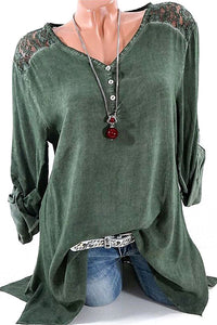 A| Chicoth Lace Casual Cotton V-Neckline Long Sleeves T-shirts