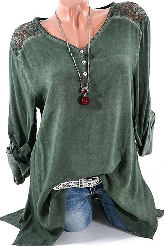 A| Chicoth Lace Casual Cotton V-Neckline Long Sleeves T-shirts-Chicloth
