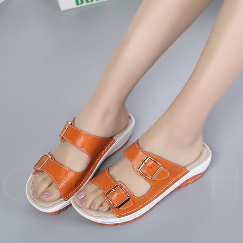 Chicloth Beach Casual Buckle Summer Peep Toe Wedge Slippers