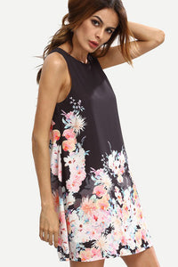 AA| Chicloth Women Summer Casual Dress Floral Print Long Sleeve Mini Dress-Chicloth