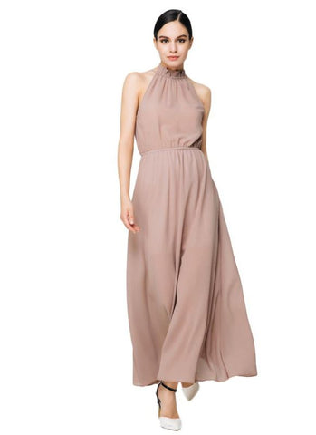 B| Chicloth Elegant Turtle Neck Solid Color Hollow Out Chiffon Maxi Dress