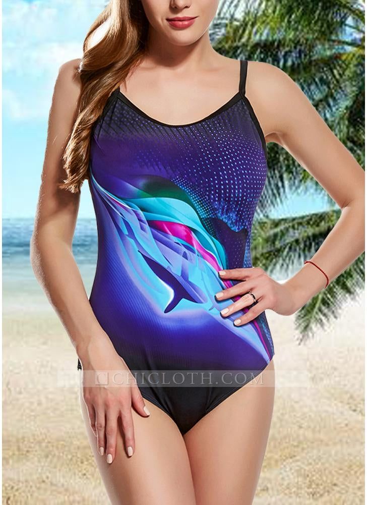 C/ Chicloth Women One-piece Swimsuit Contrast Color Dot Print Padded Swimwear Bathing Suit - Grape / S