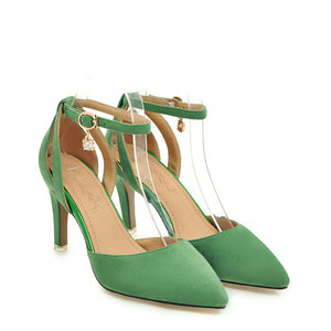 Chicloth Kelly Green Pointed Toe Strappy Tie Up Heels For Women