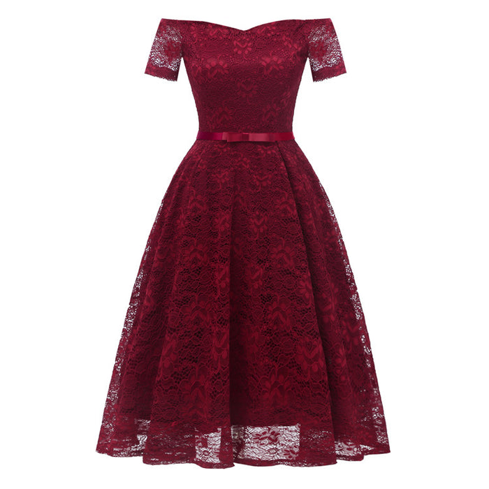 A| Chicloth 2018 New A-line Women Lace Vintage Dress-Chicloth