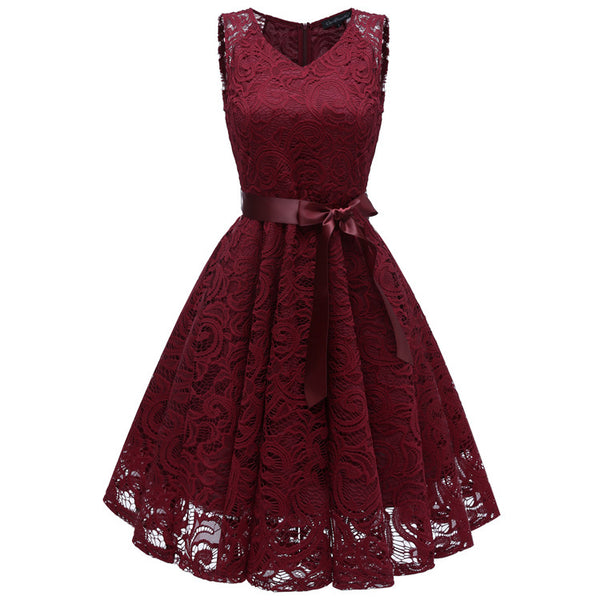 A| Chicloth Women's 1940s Vintage Rockabilly Ball Gown Flared Dress-Chicloth