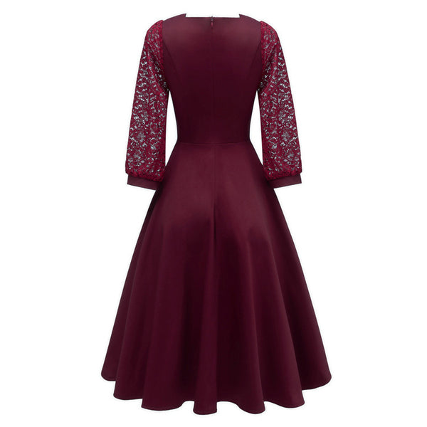 A| Chicloth Burgundy A-line Half Sleeve Lace Dress