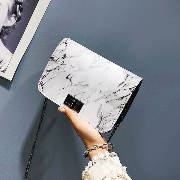 A| Chicloth Imitation Marble Fashion Crossbody Bag-Chicloth