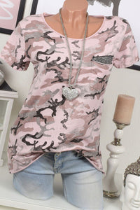 A| Chicoth Floral Casual Polyester Round-Neckline Short Sleeves T-shirts