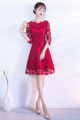 AA| Chicloth A-Line Halter Short Lace Burgundy Homecoming Dresses
