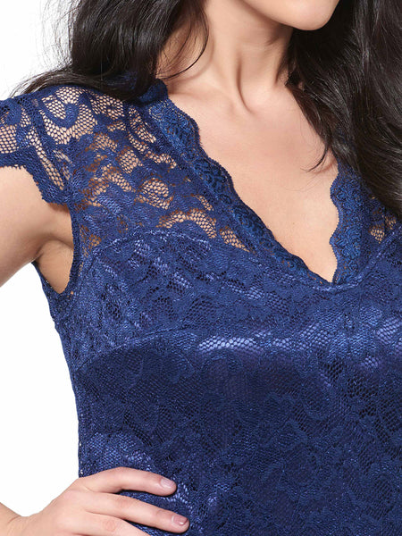 Chicloth dark blue sexy lace flower dress-Chicloth