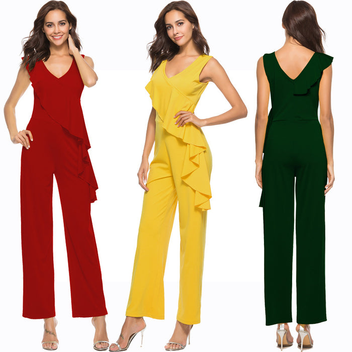 B| Chicloth Yellow Ployester Sexy Jumpsuits Straight Type Jumpsuits-Jumpsuits-Chicloth