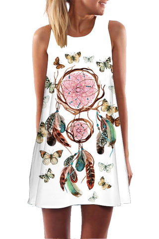 A| Chicloth Cotton Floral Sleeveless Shift Dress Mini Dress - Chicloth