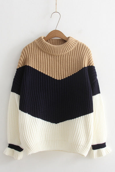 A| Chicloth Color Blocked Crew Style Women Sweaters