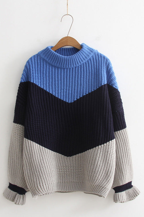 A| Chicloth Color Blocked Crew Style Women Sweaters-Sweaters-Chicloth