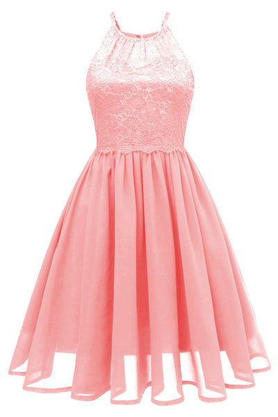 A| Chicloth Pink Patchwork Condole Belt Lace Cut Out Round Neck Sweet Lace Dress-Chicloth