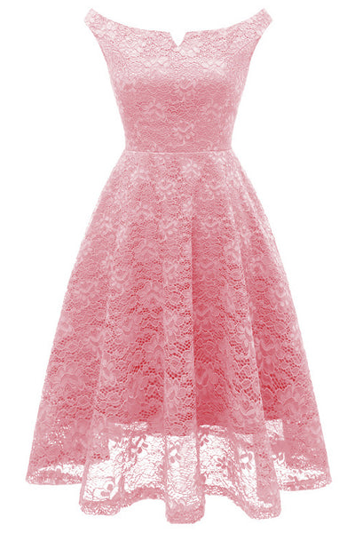 A| Chicloth Pink Sleeveless A-Line Lace Dress-Chicloth