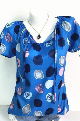 AA| Chicoth Dot Casual Polyester V-Neckline Short Sleeves T-shirts
