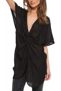 Chicloth Plunge V-neck Black Shift Dress