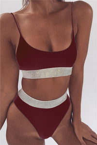 A| Chicloth Bandeau Bikini High Cut Leg Bathing Suit Women-Bikinis-Chicloth