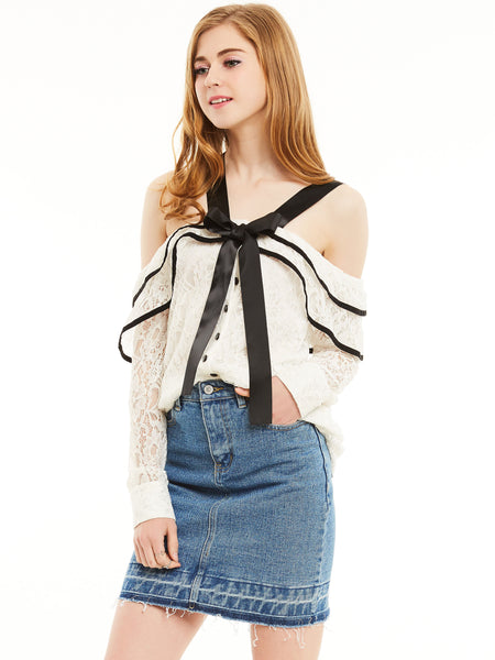 Young17 Slash Neck lace Singke-Dreasted Blouse