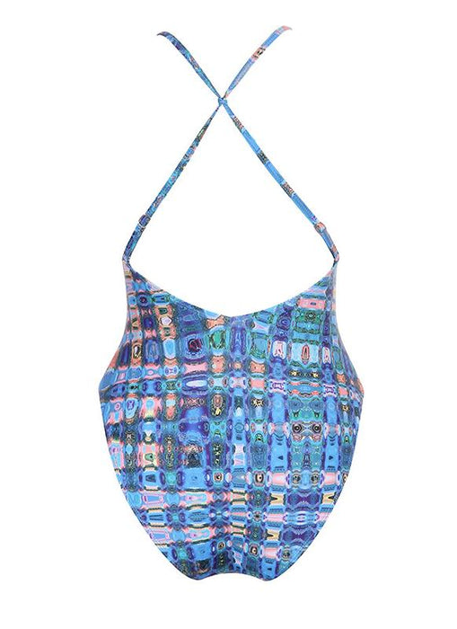 B| Chicolth Backless Plaid Swimwear Criss Cross Bandage Bathing Suit-chinlon,polyester,onepieceswimsuit-Chicloth