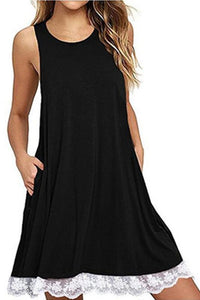 AA| Chicloth High Summer Sleeveless Women Shift Dress with Lace-Chicloth