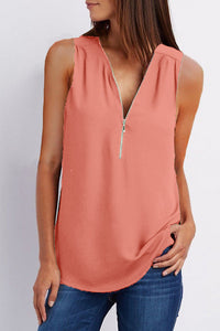 A| Chicloth Solid Casual Polyester V-Neckline Sleeveless Blouses