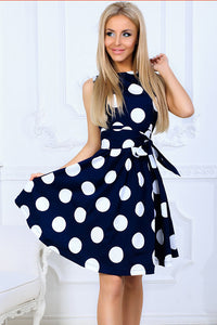 AA| Chicloth Women Elegant Dot Printing Dresses Casual Sweet Dress-Chicloth