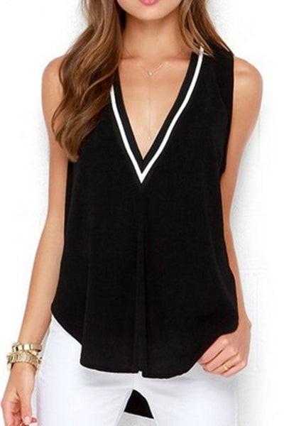 A| Chicloth Stripe Casual Cotton V-Neckline Sleeveless Blouses