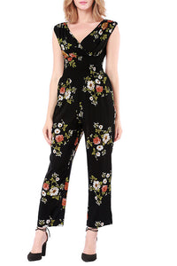 A| Chicloth Print Flower Cotton Women Sexy Graceful Jumpsuits