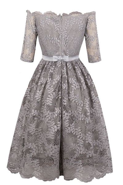 A| Chicloth Dress Gray Elegant Homecoming Dress A Line Off The Shoulder Half Sleeves -Chicloth