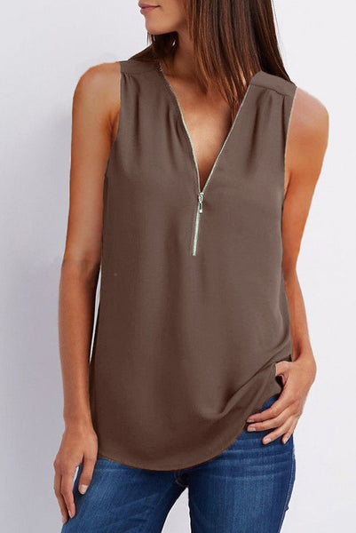 A| Chicloth Solid Casual Polyester V-Neckline Sleeveless Blouses-Chicloth