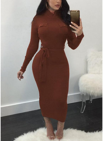 B| Chicloth Women Autumn Winter Sweater Knitted Dress Belted Waist Slim Elastic Turtleneck Long Sleeve Bodycon Dress