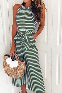 AA| Chicloth Sexy Stripes Round Neck Women Jumpsuits