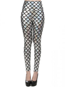 New Street Style Slim Sexy High-Waisted Silver Mermaid Fish Scale Imitation Leather Leggings