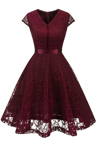 A| Chicloth Women's Vintage 1950s Short Sleeve A-Line Cocktail Party Swing Dress with Floral Lace(In Stock)-Chicloth