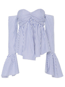 Chicloth Blue Stripe Off the Shoulder Lotus Leaf Sleeve Blouse