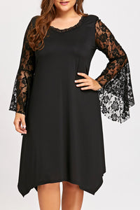 B| Chicloth Women Large Size Lace Chiffon Dress Plus Size Nightclub Party Dress