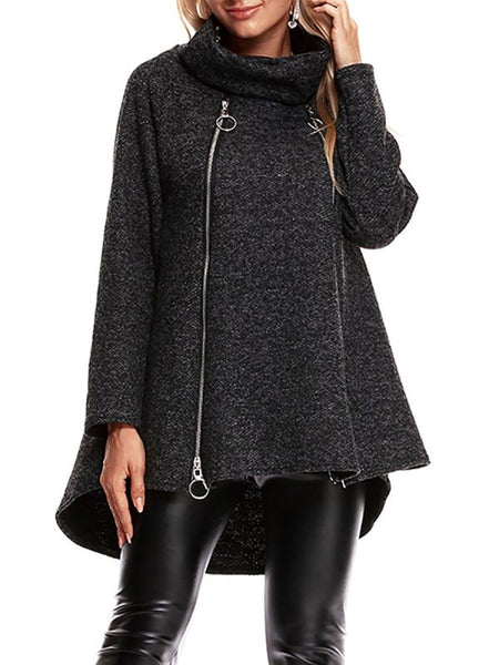 Casual Zipper Long Sleeve Turtle Neck High Coats & Jackets-Coats & Jackets-Chicloth