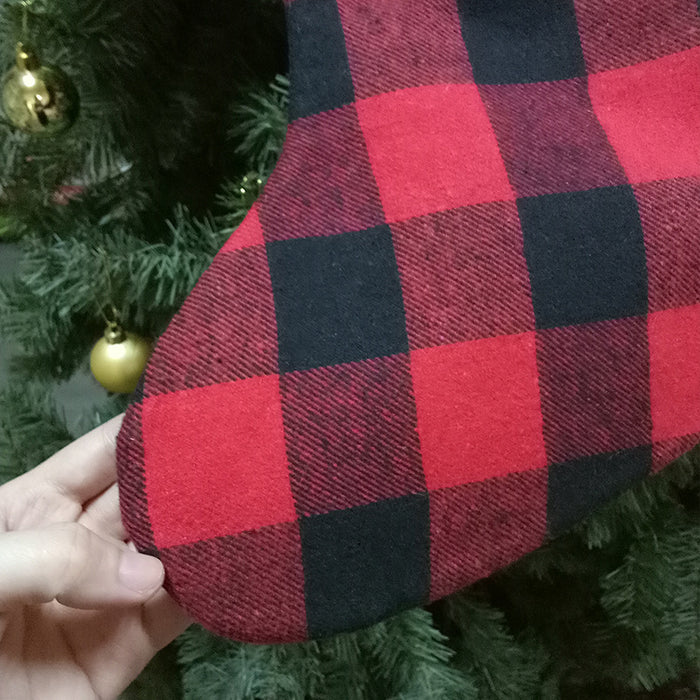 C| Chicloth Plaid Print Christmas Gift Stocking Decoration-Christmas Accessories-Chicloth