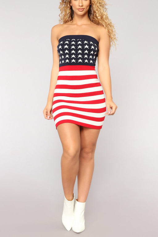 A| Chicloth American Flag Sun Dress Mini Strapless Dress-Fashion Dresses||Maxi Dresses-Chicloth