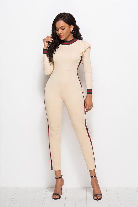 B| Chicloth Khaki Ployester Sexy Jumpsuits Tight Fit Jumpsuits-Jumpsuits-Chicloth