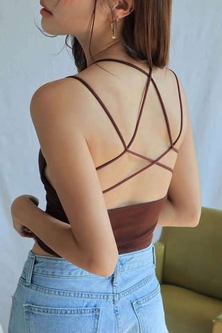 C| Chicloth Sexy Solid Color Lace Up Backless Halter Crop Cami Bralette-vests-Chicloth