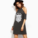 Chicloth Bare Shoulder Printed T-shirt Dress