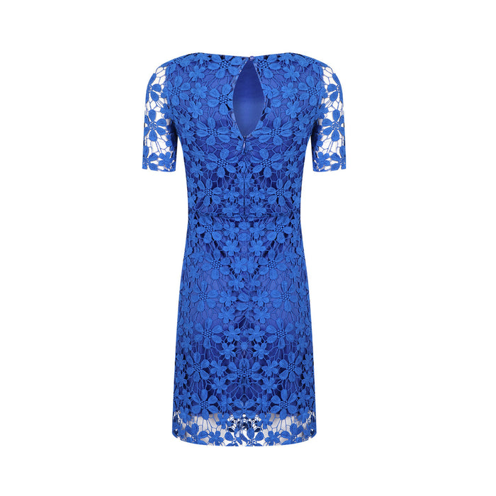 Chicloth Middle Sleeve A-Line Blue Dress-Chicloth