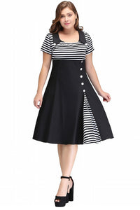 Vintage O Neck Plus Size Women Clothing Summer Dress Rockabilly Dress Button Striped Vestidos Audrey Hepburn Tunic - Chicloth