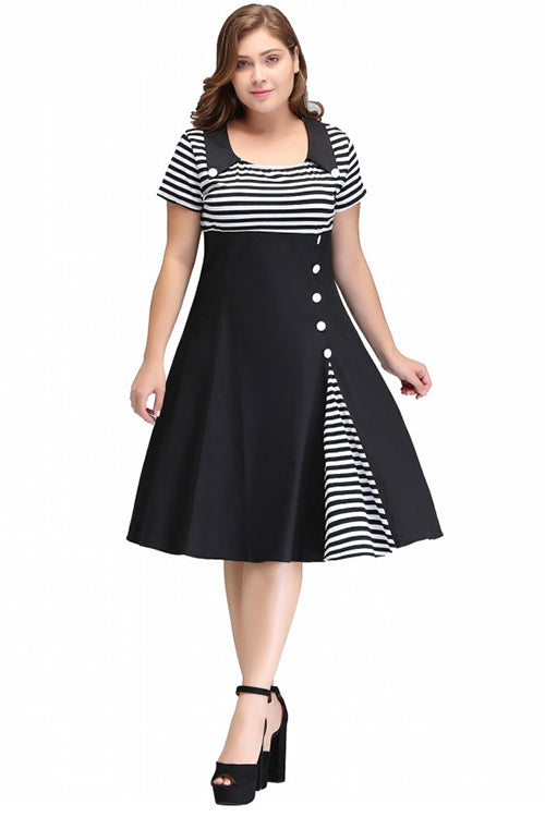 Vintage O Neck Plus Size Women Clothing Summer Dress Rockabilly